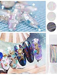 6pcs New Transparent Nail Art Foils Starry Sky Glitter Nail Transfer Sticker Paper