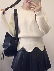 Damen Standard Pullover-Ausgehen Lässig/Alltäglich Sexy Niedlich Solide Gestreift Rosa Rundhalsausschnitt Langarm Polyester Alle Saisons