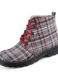 Women's Boots Fall Winter Comfort PU Casual Low Heel Lace-up Yellow Red