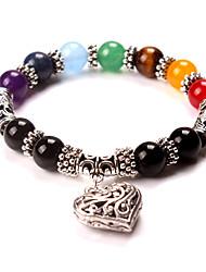 Men Women 7 Chakra Bracelets Bangle Mixed Healing Crystals Stone Chakra Pray Mala Heart Bracelet Jewelry