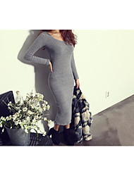Women's Casual/Daily Simple Sweater Dress,Solid Crew Neck Midi Long Sleeve White / Gray Polyester Spring / Summer High Rise Micro-elastic