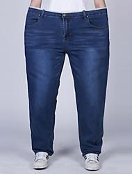 Men's Solid Blue Jeans Pants,Simple All Seasons