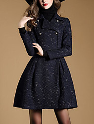Women's Going out / Party/Cocktail Street chic / Sophisticated Trench Coat,Print Shirt Collar Long Sleeve All Seasons Multi-color Cotton