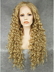 IMSTYLE 26''High Quality Brown Long Curly Synthetic Lace Front Wigs Heat Resistant