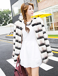 Women's Going out Sexy Fur Coat,Striped Long Sleeve White Faux Fur