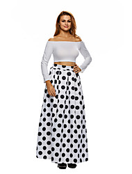 Women's High Waist Polka Dot Print Pleated Maxi Skirt