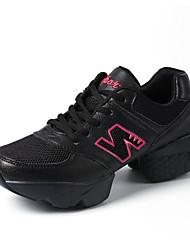 Non Customizable Women's Dance Shoes Leatherette Leatherette Dance Sneakers Split Sole Cuban Heel Practice Black / White
