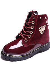 Girl's Boots Winter Others Patent Leather Casual Low Heel Lace-up Black Blue Burgundy Others