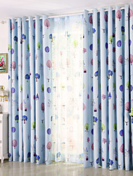 One Panel Curtain Modern , Leaf Kids Room Poly / Cotton Blend Material Blackout Curtains Drapes Home Decoration For Window