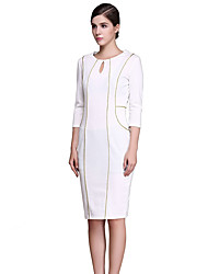 Women's Casual/Daily / Work Sophisticated Sheath Dress,Solid Round Neck Knee-length Long Sleeve White Cotton / Polyester / SpandexSpring