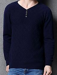 Мужчины На каждый день Простое Обычный Пуловер Однотонный,Синий / Красный / Бежевый / Черный / Желтый V-образный вырез Длинный рукав