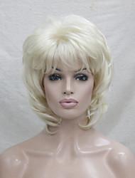 nouvelle blonde avec off mélange noir racine blond longueur moyenne en cascade couches synthétiques pleine perruque cheveux femmes