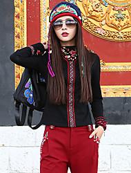 Feminino Camiseta Casual Boho Outono,Bordado Preto Algodão / Elastano Colarinho Chinês Manga Longa