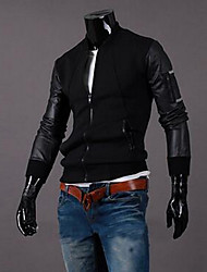Men's Casual/Daily Simple Jackets,Color Block Long Sleeve Black / Gray Cotton