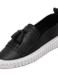 Women's Loafers & Slip-Ons Spring Fall Slide Leather Casual Platform Tassel Black White Others