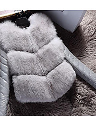 Women's Casual/Daily Simple Fur Coat,Solid Long Sleeve White / Black / Brown / Gray Faux Fur
