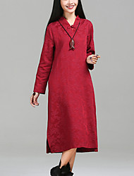 Women's Elegant chic Loose Dress Jacquard V Neck Midi Long Sleeve Red / Black Cotton / Linen Fall Mid Rise Inelastic Medium