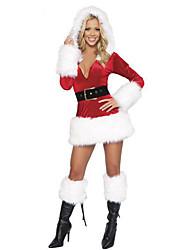 Costumes de Cosplay Costumes de père noël Fête / Célébration Déguisement Halloween Rouge Mosaïque Robe / Plus d'accessoires / Chapeau Noël