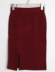 Women's Bodycon Solid Knitting Skirts,Going out / Casual/Daily Sexy / Cute Mid Rise Mini Elasticity Polyester Stretchy Summer