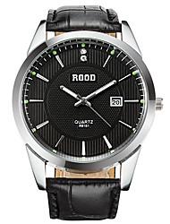Men's Wrist watch Calendar Quartz Genuine Leather Band Cool Casual Black