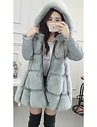 Women's Going out / Party/Cocktail Street chic Fur Coat,Solid Hooded Long Sleeve Winter Black / Gray Faux Fur Medium