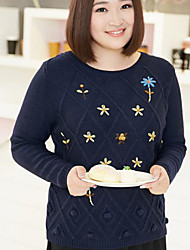 Women's Casual/Daily Plus Size Simple Regular Pullover,Floral Blue Round Neck Long Sleeve Acrylic Fall Winter Medium Micro-elastic