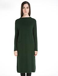 Feminino Reto / Tricô Vestido,Casual estilo antigo Sólido Gola Redonda Altura dos Joelhos Manga Longa Vermelho / Preto / Cinza / Verde Lã