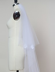 Bride Wedding White / Ivory Veil Two-tier Chapel Veils / Cathedral Veils Cut Edge Tulle With Comb