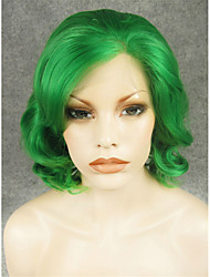 IMSTYLE 11'' Green Short Wavy Synthetic Hair Lace Heat Resistant Fiber Wig On Sale