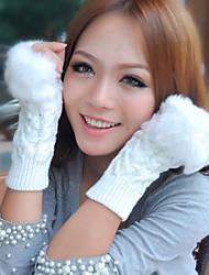Women Rabbit Fur Half Finger Wrist Length,Patchwork Casual Winter
