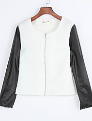 Women's Patchwork Slim Long Sleeve Zipper Little Jacket