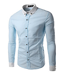 Men's Casual/Daily Simple Shirt,Color Block Classic Collar Long Sleeve Blue / White / Black Cotton