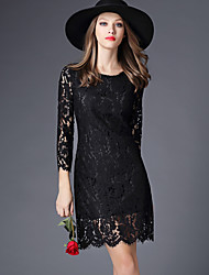 Women's Casual/Daily Sexy Lace Dress,Solid Round Neck Above Knee ¾ Sleeve Black Polyester Fall Mid Rise Micro-elastic Medium