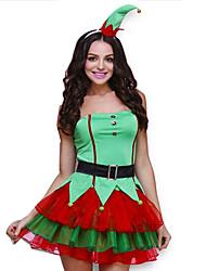 Festival/Celebração Trajes da Noite das Bruxas Verde Cor Única Vestido / Cinto / Decoração de Cabelo Natal Feminino Seda / Organza