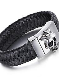 Kalen Men's Leather Bracelet Punk 316 Stainless Steel Skull Charm Bracelets&Bangles Rock Jewelry Fashion Male Accessory