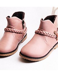 Girl's Boots Comfort Cowhide Casual Black Pink