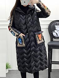 Feminino Longo Casaco Acolchoado,Moda de Rua / Sofisticado Sólido Esportivo / Trabalho-Algodão Polipropileno Manga Longa Colarinho Chinês
