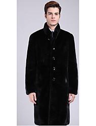Men's Casual/Daily Simple Fur Coat,Solid Standing Collar Long Sleeve Winter Black Faux Fur Medium