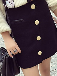 Women's Pencil Solid Skirts,Casual/Daily Low Rise Above Knee Button Cotton Micro-elastic Spring / Summer
