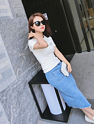 Women's Bodycon Solid Skirts,Casual/Daily High Rise Midi Zipper Others Inelastic Summer