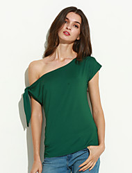 Tee-shirt Aux femmes,Couleur Pleine Décontracté / Quotidien / Sortie Sexy / Chic de Rue Eté Manches Courtes Une EpauleBleu / Rose / Rouge
