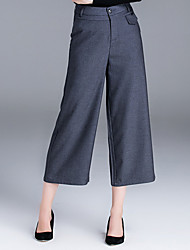 ZIYI Women's Bootcut Business PantsCasual/Daily Simple Solid Mid Rise Button Cotton Micro-elastic Spring / Fall