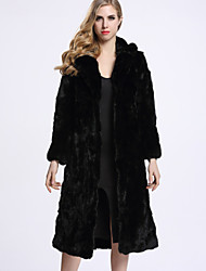 BF-Fur Style Women's Casual/Daily Sophisticated Fur CoatSolid Hooded Long Sleeve Winter Black Rex Rabbit Fur