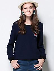 Mujer Regular Pullover Casual/Diario / Tallas Grandes Simple,Bordado Azul Escote Redondo Manga Larga Poliéster Otoño / Invierno Medio