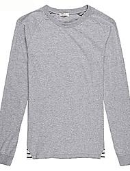 Trenduality® Hommes Col Arrondi Manche Longues T-shirt Gris-63012