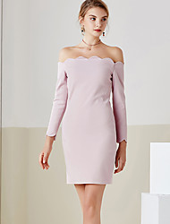 MASKED QUEN Women's Casual/Daily Simple Little Black DressSolid Boat Neck Maxi Long Sleeve Pink / Black Cotton Spring / Summer Mid Rise Micro-elastic