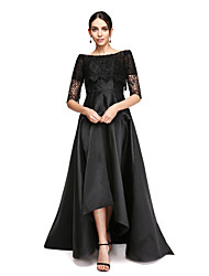 TS Couture Formal Evening Dress - Little Black Dress A-line Off-the-shoulder Asymmetrical Satin with Lace