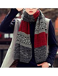 Men Knitwear Scarf,Casual RectanglePrint