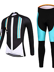 QKI 100 Style Cycling Jersey with Tights Unisex Long Sleeve Bike Breathable / Quick Dry / Anatomic Design / Front Zipper / 3D Pad