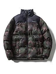 Manteau Rembourré Hommes simple Sortie camouflage-Coton Polypropylène Manches Longues Blanc